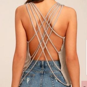 Lulus Back at it Taupe Backless Tank top